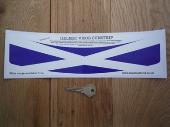 "Scotland Saltire Flag Helmet Visor Sunstrip Sticker. 12""."