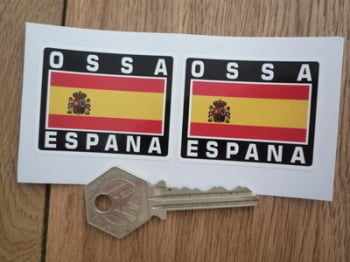"OSSA Espana Spanish Flag Style Stickers. 2"" Pair."