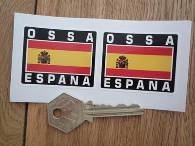 "OSSA Espana Spanish Flag Style Stickers. 2"" Pair."