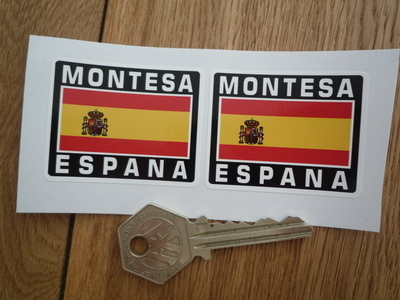"Montesa Espana Spanish Flag Style Stickers. 2"" Pair."
