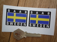 Saab Sweden Swedish Flag Style Stickers. 2