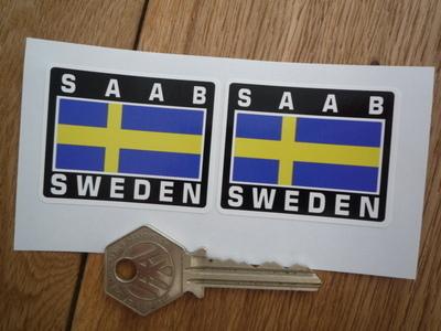 "Saab Sweden Swedish Flag Style Stickers. 2"" Pair."