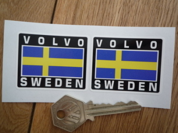 "Volvo Sweden Swedish Flag Style Stickers. 2"" Pair."