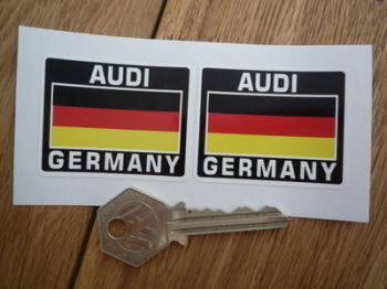"Audi Germany Tricolour Style Stickers. 2"" Pair."