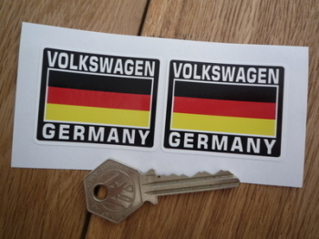 "Volkswagen Germany Tricolour Style Stickers. 2"" Pair."