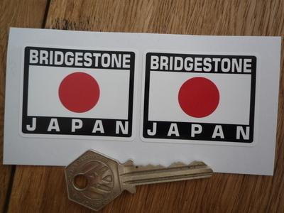 """Bridgestone Japan Hinomaru Style Stickers. 2"""" Pair."""