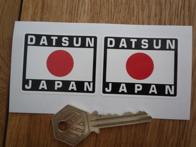 "Datsun Japan Hinomaru Style Stickers. 2"" Pair."