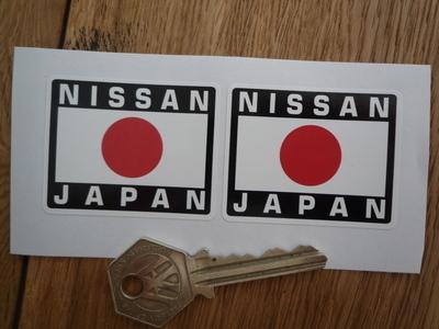 """Nissan Japan Hinomaru Style Stickers. 2"""" Pair."""