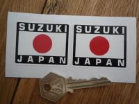 """Suzuki Japan Hinomaru Style Stickers. 2"""" Pair."""