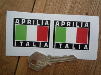 """Aprilia Italia Tricolore Style Stickers. 2"""" Pair."""