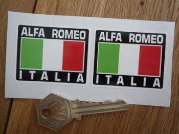 "Alfa Romeo Italia Tricolore Style Stickers. 2"" Pair."