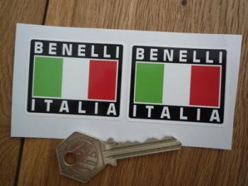 """Benelli Italia Tricolore Style Stickers. 2"""" Pair."""