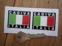 """Cagiva Italia Tricolore Style Stickers. 2"""" Pair."""