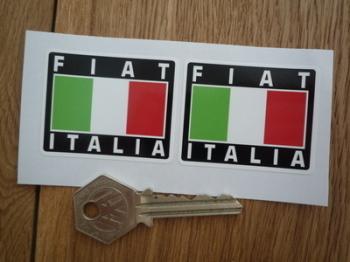 "Fiat Italia Tricolore Style Stickers. 2"" Pair."