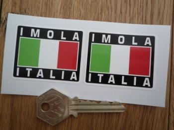 "Imola Italia Tricolore Style Stickers. 2"" Pair."