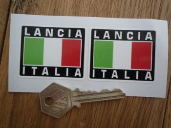 "Lancia Italia Tricolore Style Stickers. 2"" Pair."