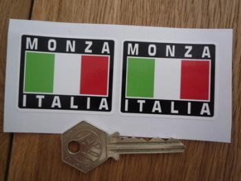 """Monza Italia Tricolore Style Stickers. 2"""" Pair."""
