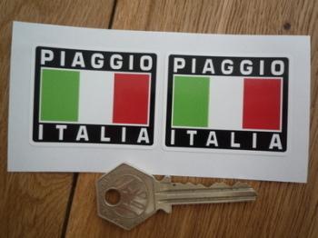 """Piaggio Italia Tricolore Style Stickers. 2"""" Pair."""