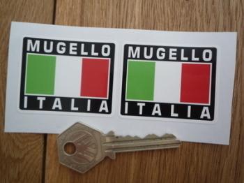 """Mugello Italia Tricolore Style Stickers. 2"""" Pair."""