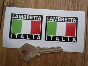 """Lambretta Italia Tricolore Style Stickers. 2"""" Pair."""