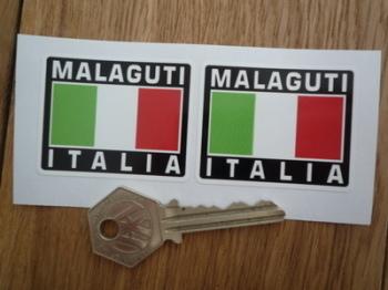 "Malaguti Italia Tricolore Style Stickers. 2"" Pair."