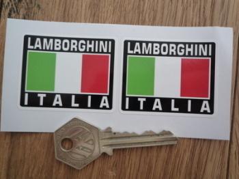 """Lamborghini Italia Tricolore Style Stickers. 2"""" Pair."""