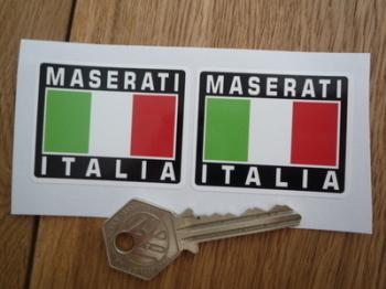 """Maserati Italia Tricolore Style Stickers. 2"""" Pair."""