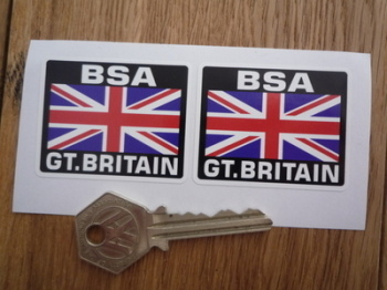 """BSA Great Britain Union Jack Style Stickers. 2"""" Pair."""