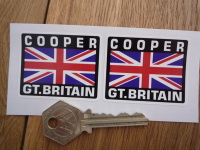 "Cooper Great Britain Union Jack Style Stickers. 2"" Pair."