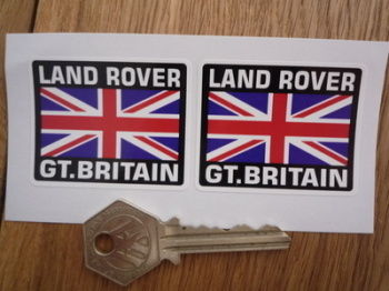 "Land Rover Great Britain Union Jack Style Stickers. 2"" Pair."