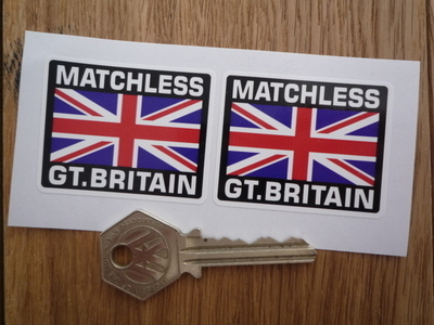 """Matchless Great Britain Union Jack Style Stickers. 2"""" Pair."""
