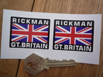 "Rickman Great Britain Union Jack Style Stickers. 2"" Pair."