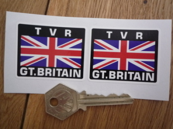 "TVR Great Britain Union Jack Style Stickers. 2"" Pair."
