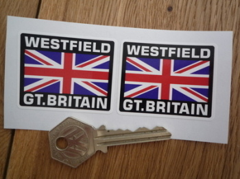 """Westfield Great Britain Union Jack Style Stickers. 2"""" Pair."""