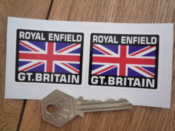"""Royal Enfield Great Britain Union Jack Style Stickers. 2"""" Pair."""
