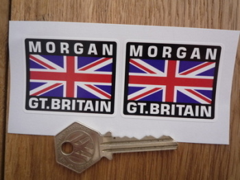 "Morgan Great Britain Union Jack Style Stickers. 2"" Pair."