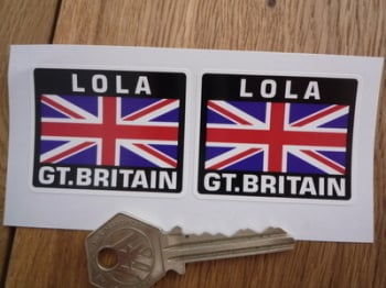 "Lola Great Britain Union Jack Style Stickers. 2"" Pair."