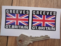 Greeves Great Britain Union Jack Style Stickers. 2