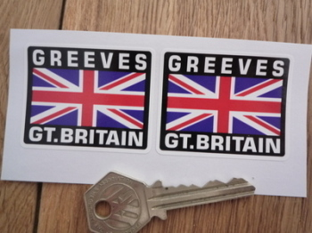 "Greeves Great Britain Union Jack Style Stickers. 2"" Pair."