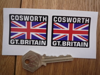 "Cosworth Great Britain Union Jack Style Stickers. 2"" Pair."