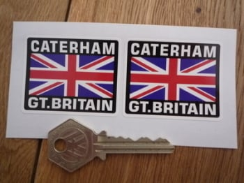 "Caterham Great Britain Union Jack Style Stickers. 2"" Pair."