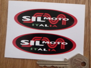 "Sil Moto Italia Exhausts Oval Stickers. 3"" Pair."