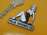 Palm Springs California Pin Up Girl Self Adhesive Car or Bike Badge. 2