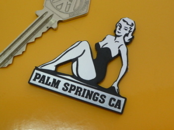 Palm Springs California Pin Up Girl Self Adhesive Car or Bike Badge. 2""