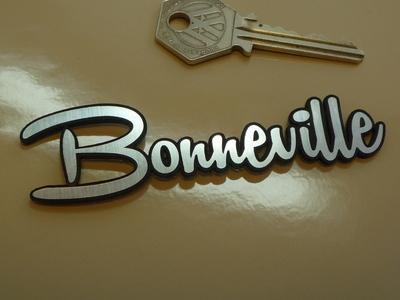 "Bonneville Script Style Self Adhesive Bike Badge. 4""."