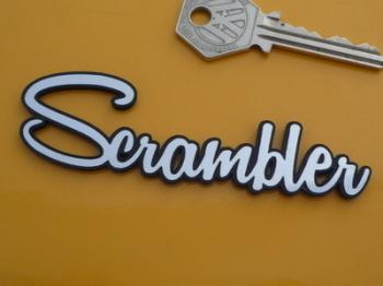 """Scrambler Script Style Self Adhesive Bike Badge. 4""""."""
