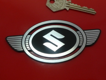"Suzuki Early Oval Winged Style Laser Cut Self Adhesive Bike Badge. 3"" or 4.5""."