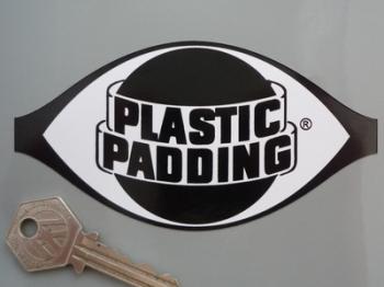 "Plastic Padding Black & White Shaped Logo Sticker. 5"",  9"" or 12""."