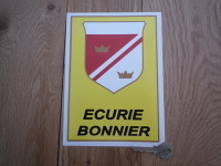 Ecurie Bonnier Black Text Oblong Shield Sticker. 8