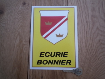 "Ecurie Bonnier Black Text Oblong Shield Sticker. 8""."